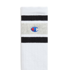 CHAMPION REVERSE WEAVE Calcetines Stripe Ribbed Crew - White