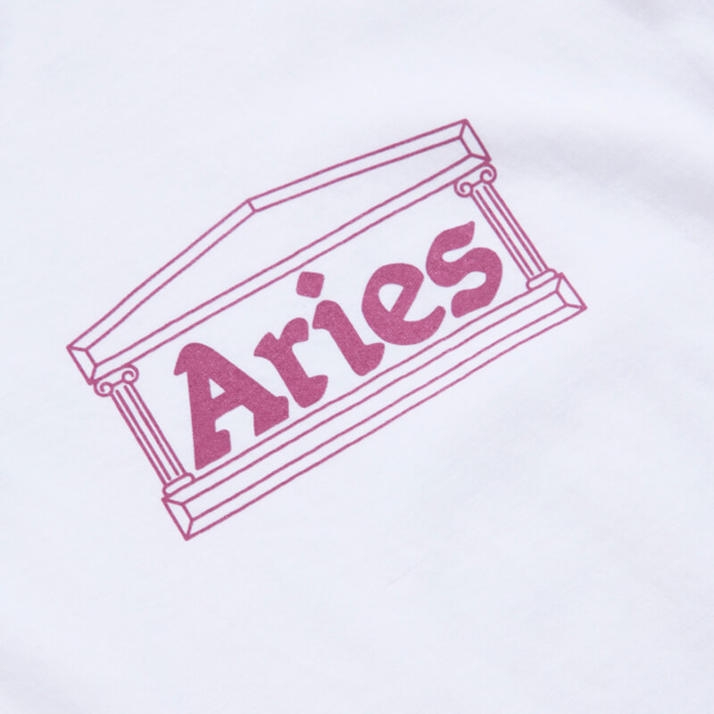 ARIES Classic Temple SS Tee - White / Pink