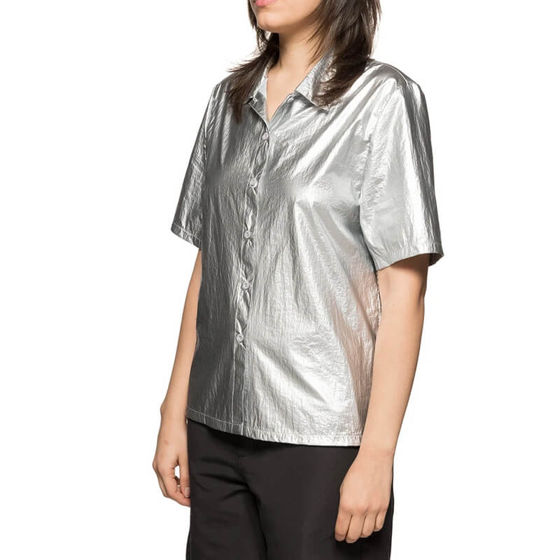 STÜSSY Shiny Button-Down Shirt - Silver