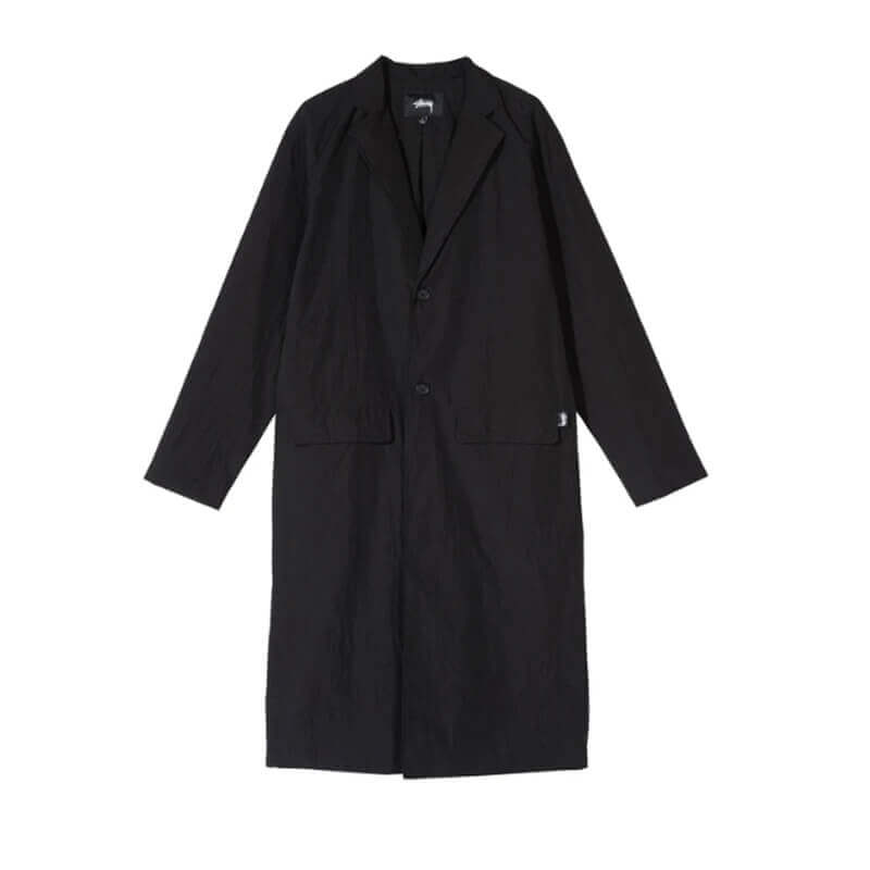STUSSY Long Light Nylon Coat - Black