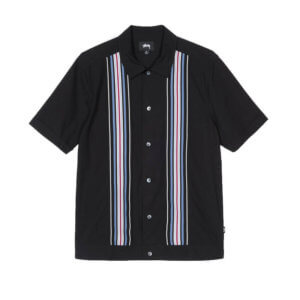 STUSSY Camisa Striped Knit Panel - Black