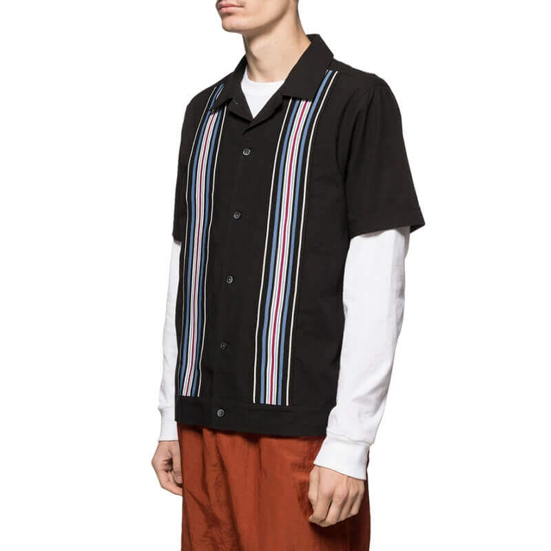 STUSSY Striped Knit Panel Shirt - Black