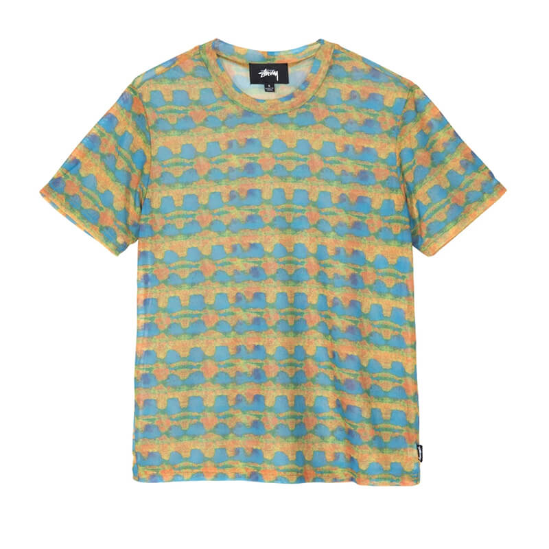 STÜSSY Camiseta Printed Plaid Mesh - Yellow