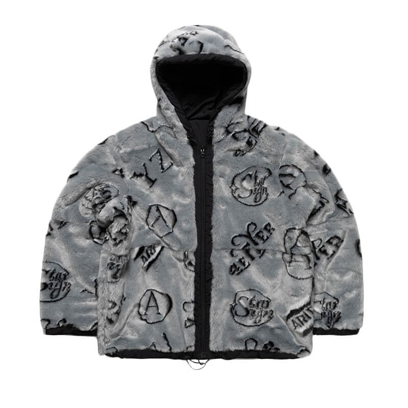 ARIES ARISE Monogram Reversible Furry Parka - Black