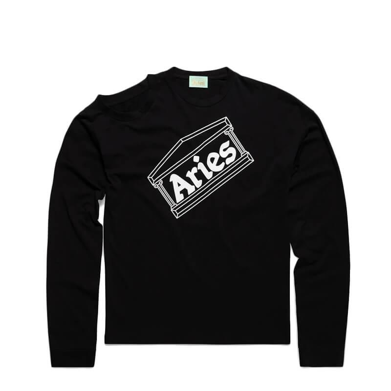 ARIES ARISE Shoulder Hole Super LS Tee – Black