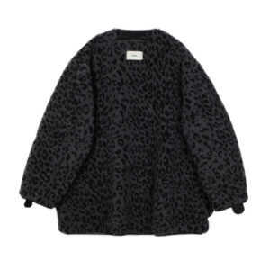 STAND ALONE Leopard Teddy Liner Jacket – Black