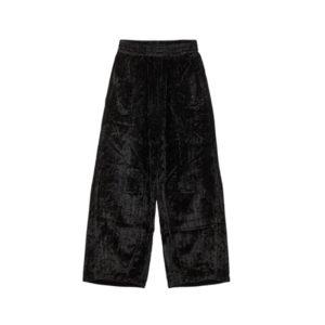 STAND ALONE Herringbone Velvet Wide Pants – Black