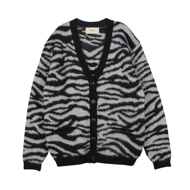 STAND ALONE Zebra Jacquard Cardigan – Black