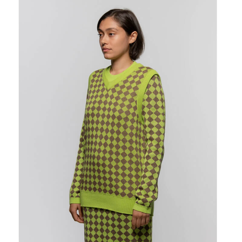 STUSSY Melange Checker Sweater Vest – Lime