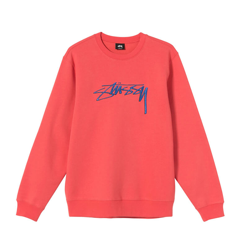 STUSSY Smooth Stock Embroidered Crew – Pale Red