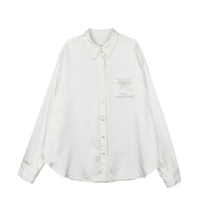 STAND ALONE Camisa Back Print Silk - White