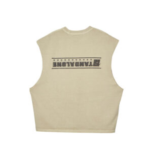 STAND ALONE Camiseta Star Raw Edge Sleeveless - Beige