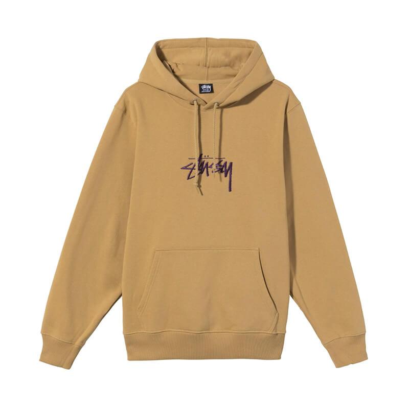 STUSSY Stock Logo Embroidered Hoodie – Khaki