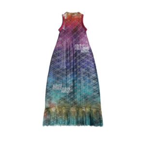 ARIES Vestido Pleated Lace Maxi Shift - Multi